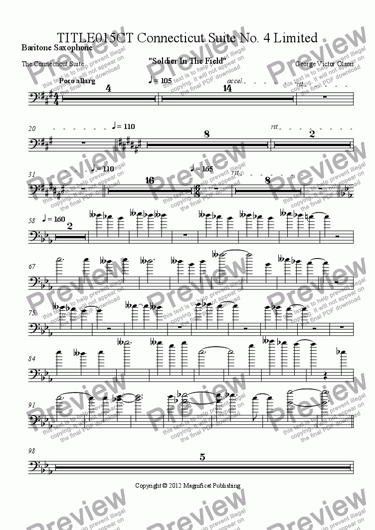 page one of the Baritone Saxophone part from TITLE015CT Connecticut Suite No. 4 Limited Orchestration