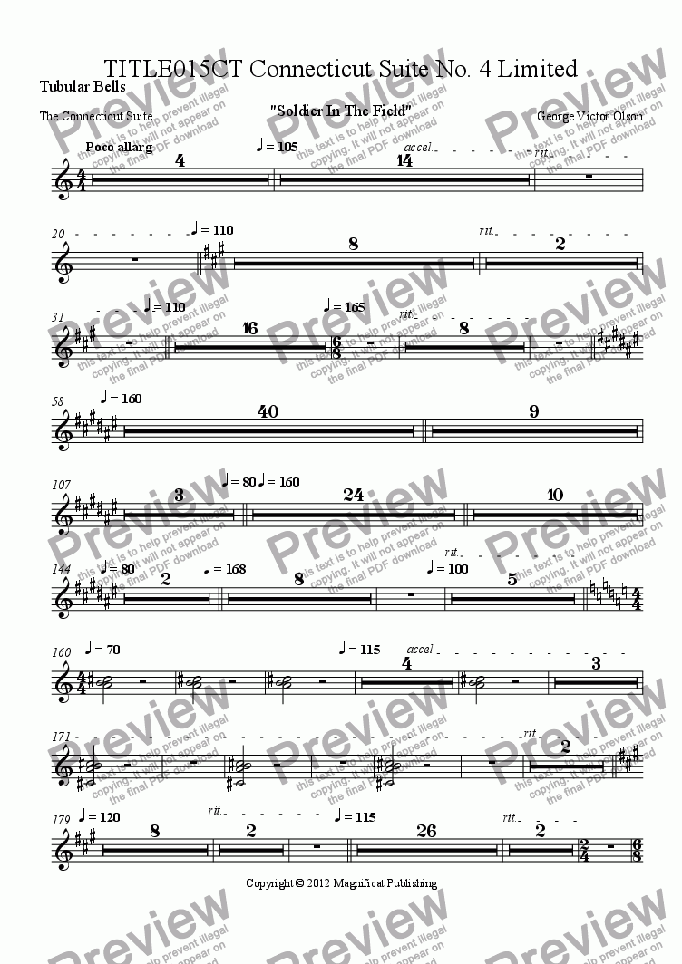 page one of the Tubular Bells part from TITLE015CT Connecticut Suite No. 4 Limited Orchestration