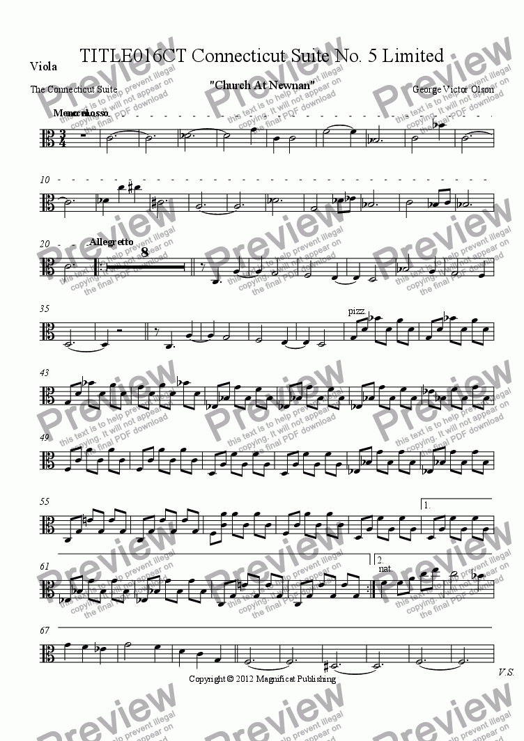 page one of the Viola part from TITLE016CT Connecticut Suite No. 5 Limited Orchestration