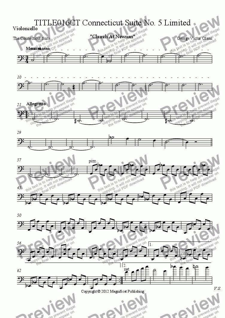 page one of the Violoncello part from TITLE016CT Connecticut Suite No. 5 Limited Orchestration