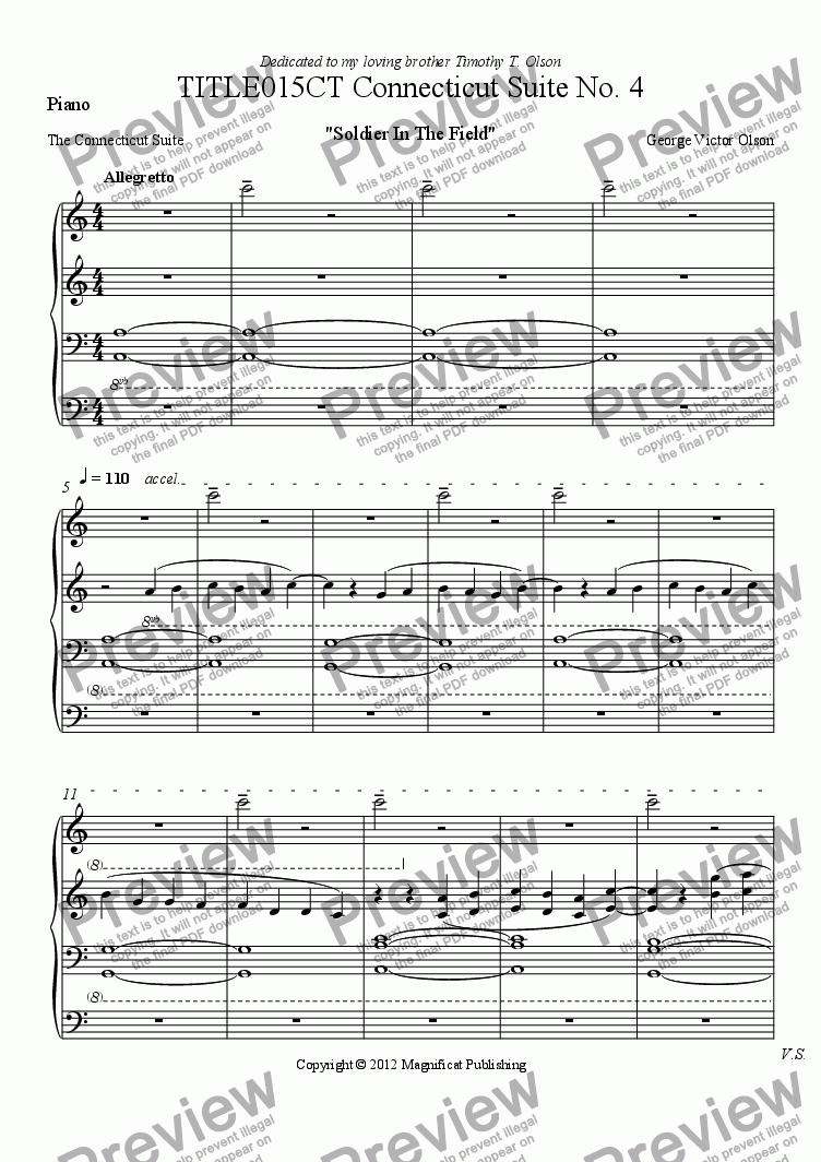 page one of the Piano part from TITLE015CT Connecticut Suite No. 4 For Piano/Guitar