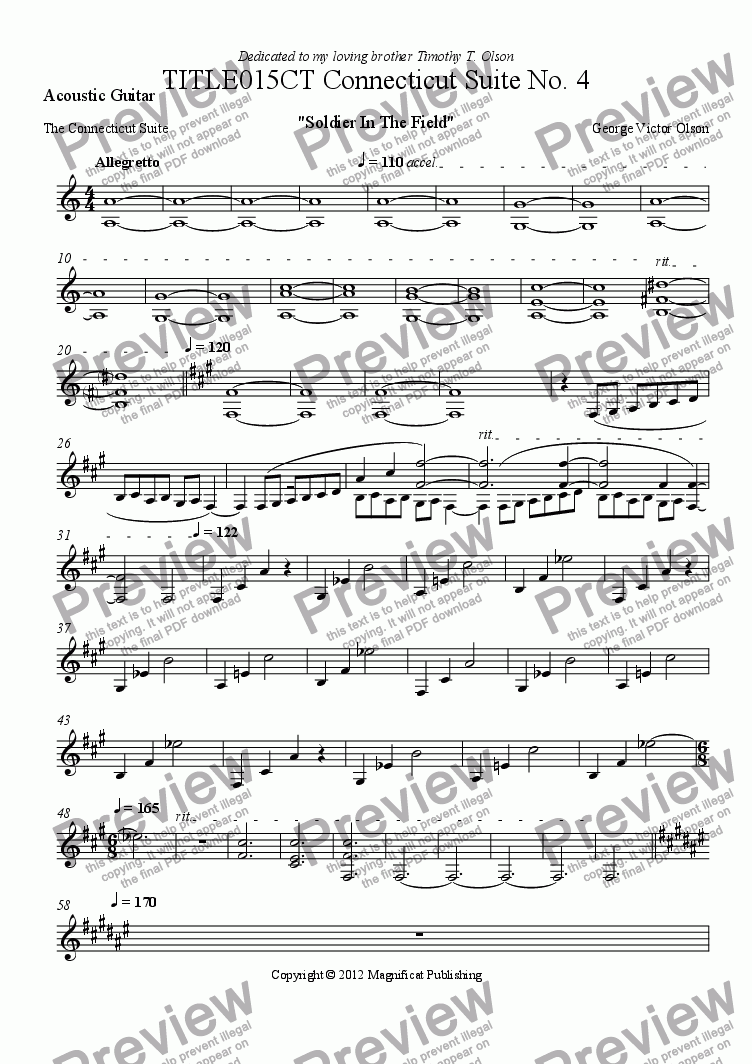 page one of the Acoustic Guitar part from TITLE015CT Connecticut Suite No. 4 For Piano/Guitar