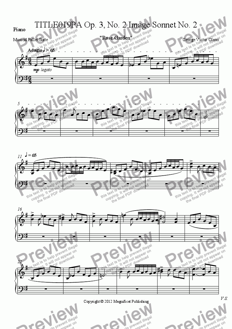 page one of the Piano part from TITLE019PA Op. 3, No. 2 Image Sonnet For Piano/Guitar