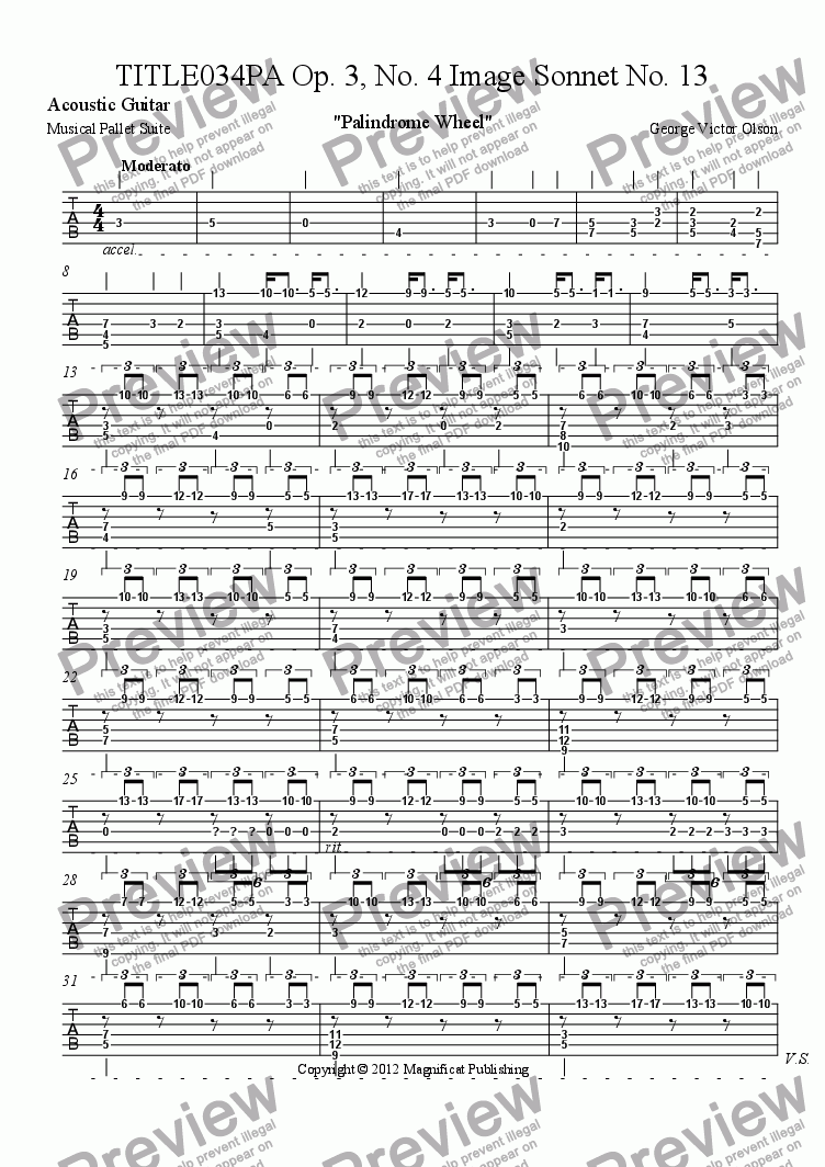 page one of the Acoustic Guitar part from TITLE034PA Op. 3, No. 4 Image Sonnet For Piano/Guitar
