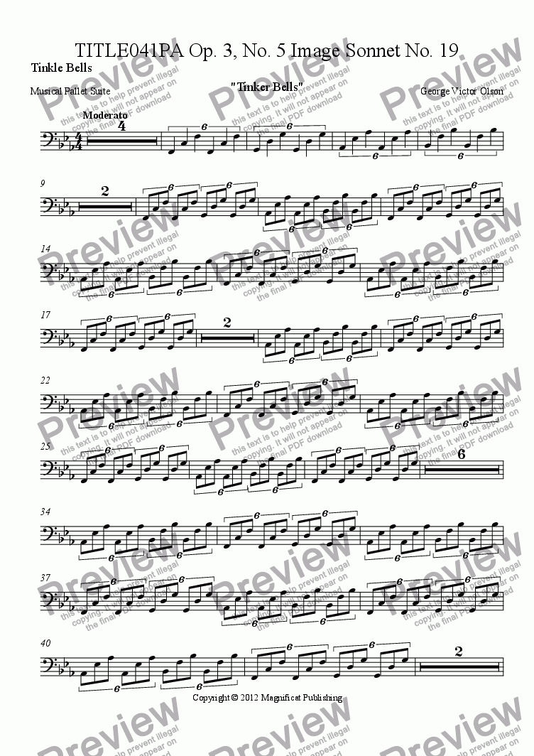 page one of the Tinkle Bells part from TITLE041PA Op. 3, No. 5 Image Sonnet For Piano/Guitar