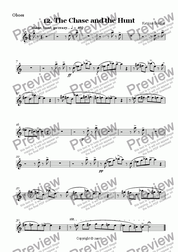 page one of the Oboes part from 12. The Chase and the Hunt