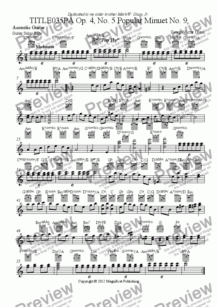 page one of the Acoustic Guitar part from TITLE035PA Op. 4, No. 5 Popular Minuet For Piano/Guitar