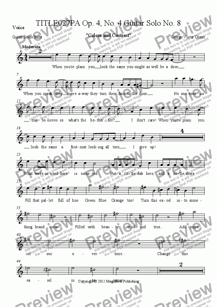 page one of the Voice part from TITLE027PA Op. 4, No. 4 Guitar Solo No. 8