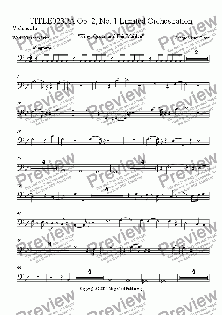 page one of the Violoncello part from TITLE023PA Op. 2, No. 1 Limited Orchestration