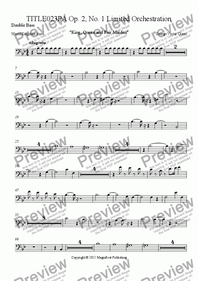 page one of the Double Bass part from TITLE023PA Op. 2, No. 1 Limited Orchestration