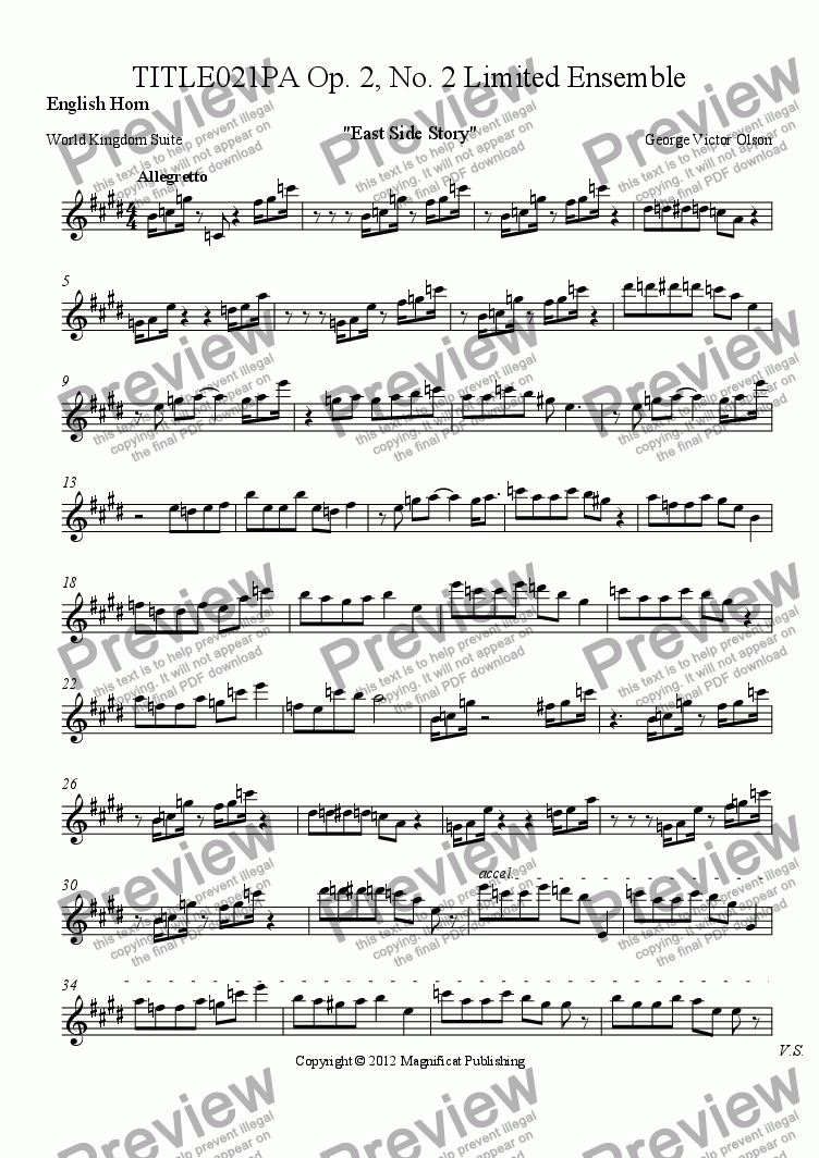 page one of the English Horn part from TITLE021PA Op. 2, No. 2 Limited Ensemble