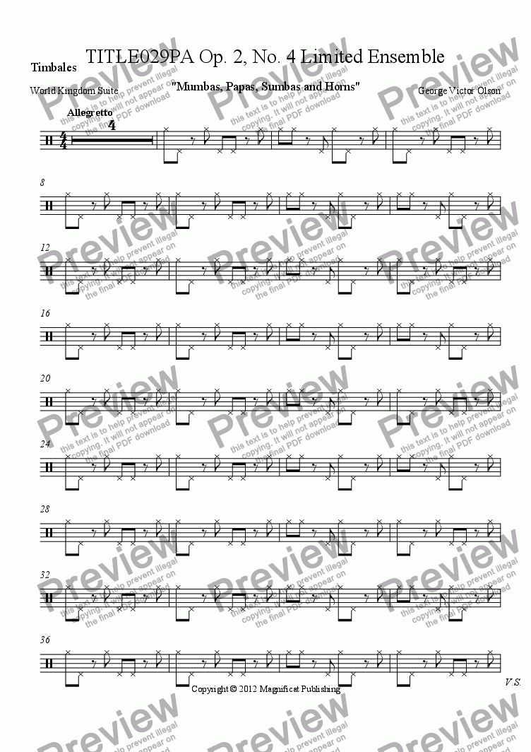 page one of the Timbales part from TITLE029PA Op. 2, No. 4 Limited Ensemble