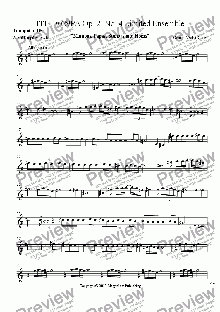 page one of the Trumpet in B^b part from TITLE029PA Op. 2, No. 4 Limited Ensemble