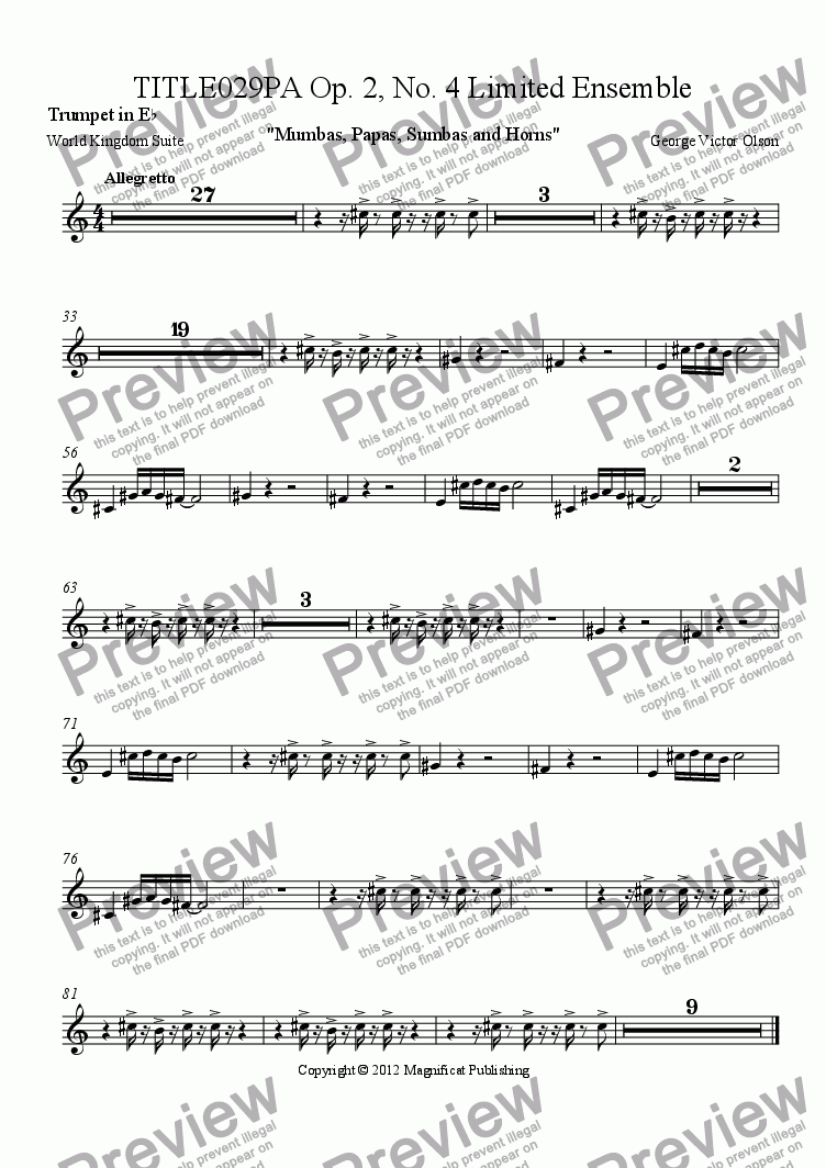 page one of the Trumpet in E^b part from TITLE029PA Op. 2, No. 4 Limited Ensemble