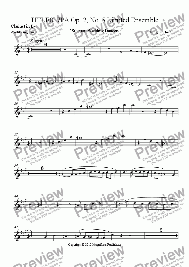 page one of the Clarinet in B^b part from TITLE017PA Op. 2, No. 5 Limited Ensemble