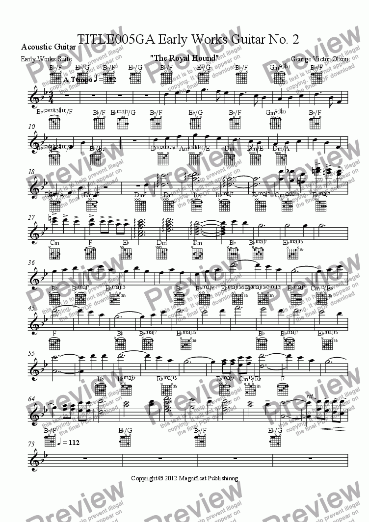 page one of the Acoustic Guitar part from TITLE005GA Early Works Guitar No. 2 For Piano/Guitar