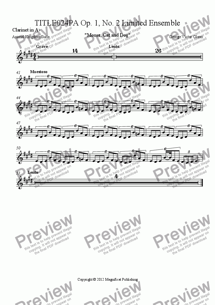 page one of the Clarinet in A^b part from TITLE024PA Op. 1, No. 2 Limited Ensemble