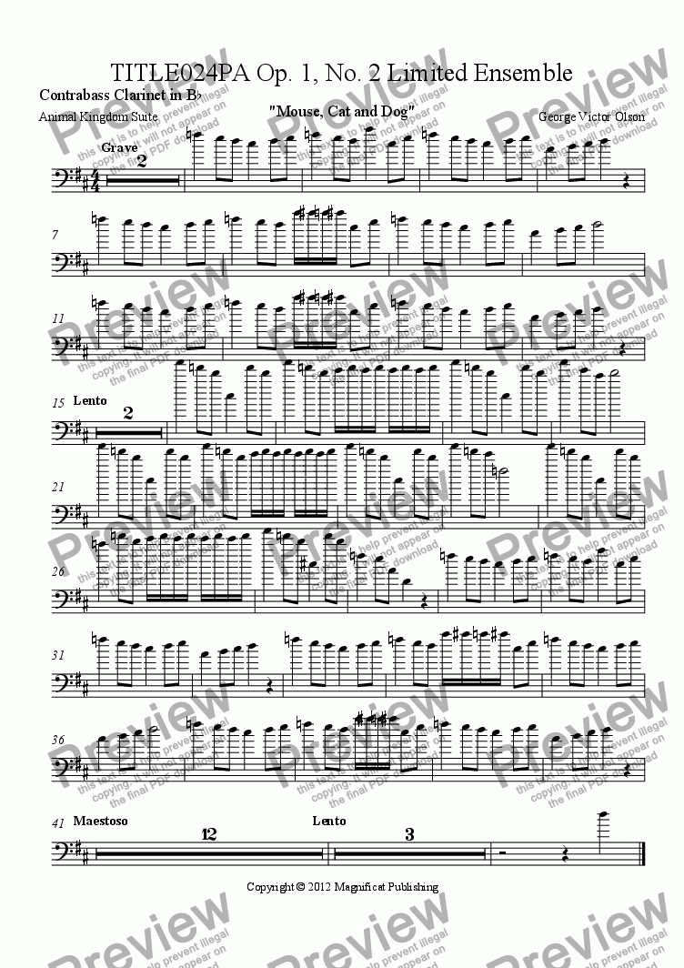 page one of the Contrabass Clarinet in B^b part from TITLE024PA Op. 1, No. 2 Limited Ensemble