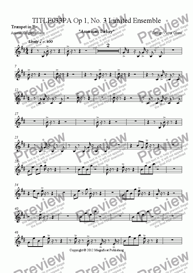 page one of the Trumpet in B^b part from TITLE033PA Op. 1, No. 3 Limited Ensemble