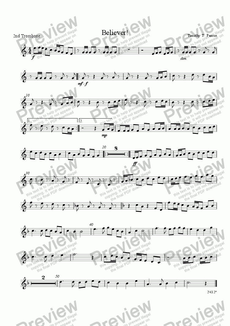 page one of the 2nd Trombone part from Believer!(Brass Band)