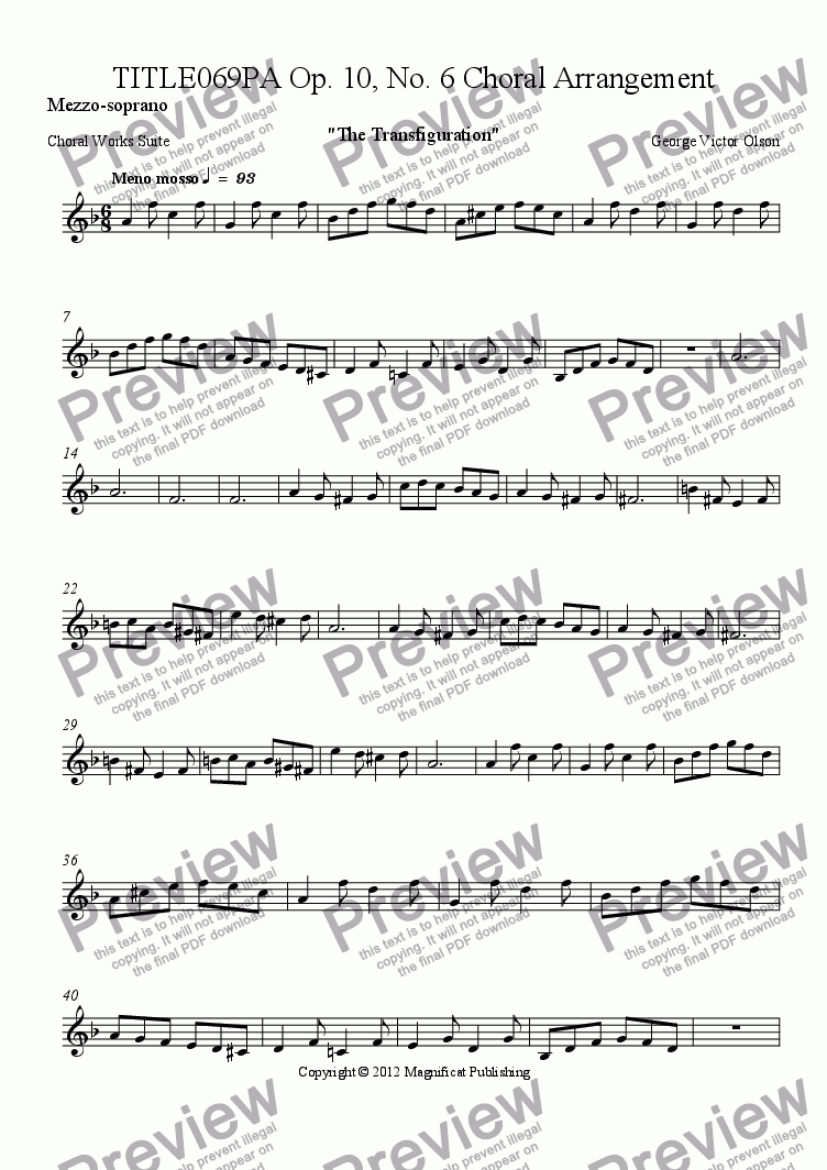 page one of the Mezzo-soprano part from TITLE069PA Op. 10, No. 6 Choral Arrangement