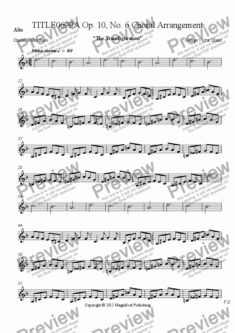 page one of the Alto part from TITLE069PA Op. 10, No. 6 Choral Arrangement