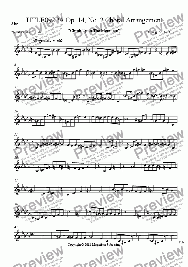 page one of the Alto part from TITLE092PA Op. 14, No. 2 Choral Arrangement