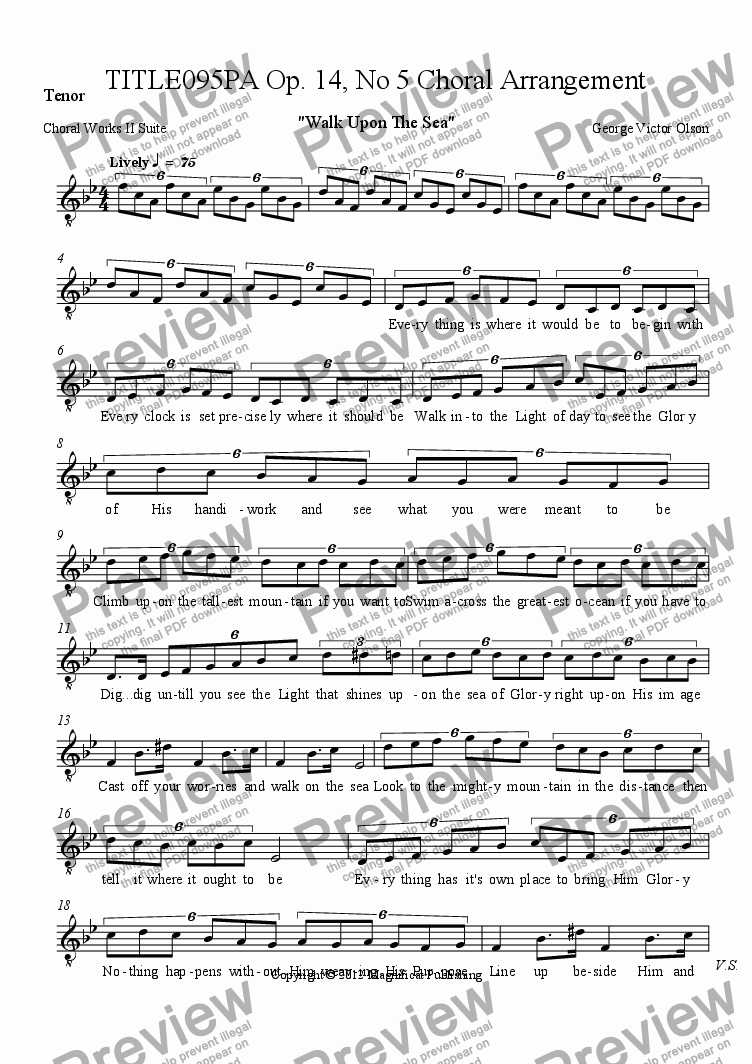 page one of the Tenor part from TITLE095PA Op. 14, No. 5 Choral Arrangement