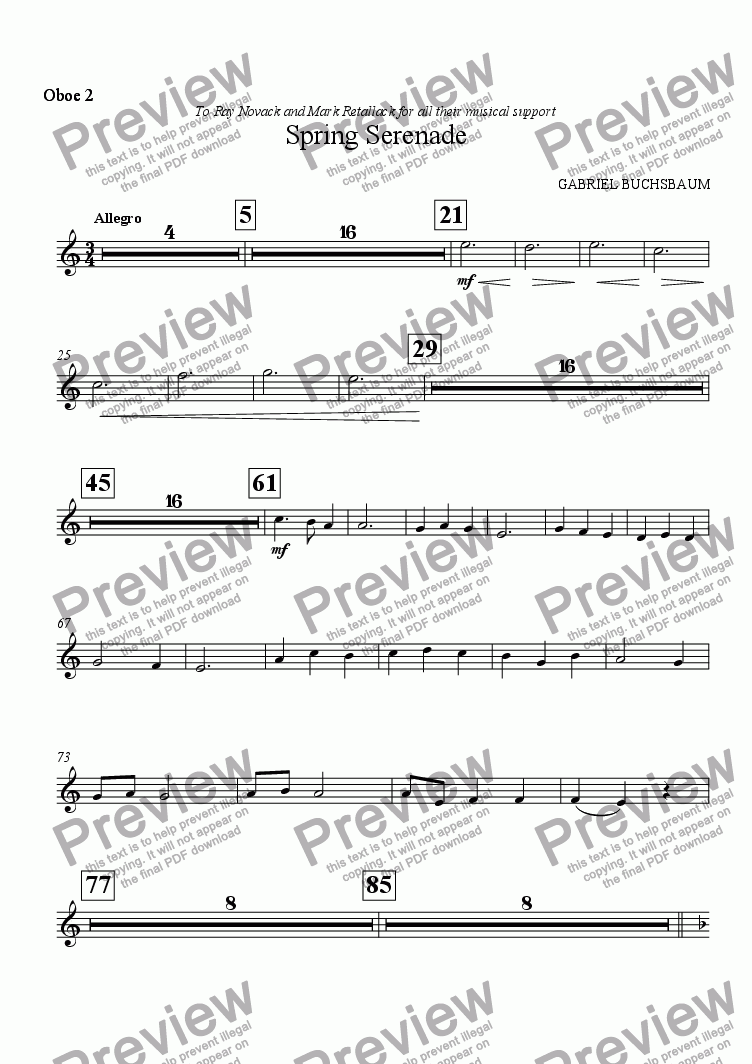 page one of the Oboe 2 part from Spring Serenade