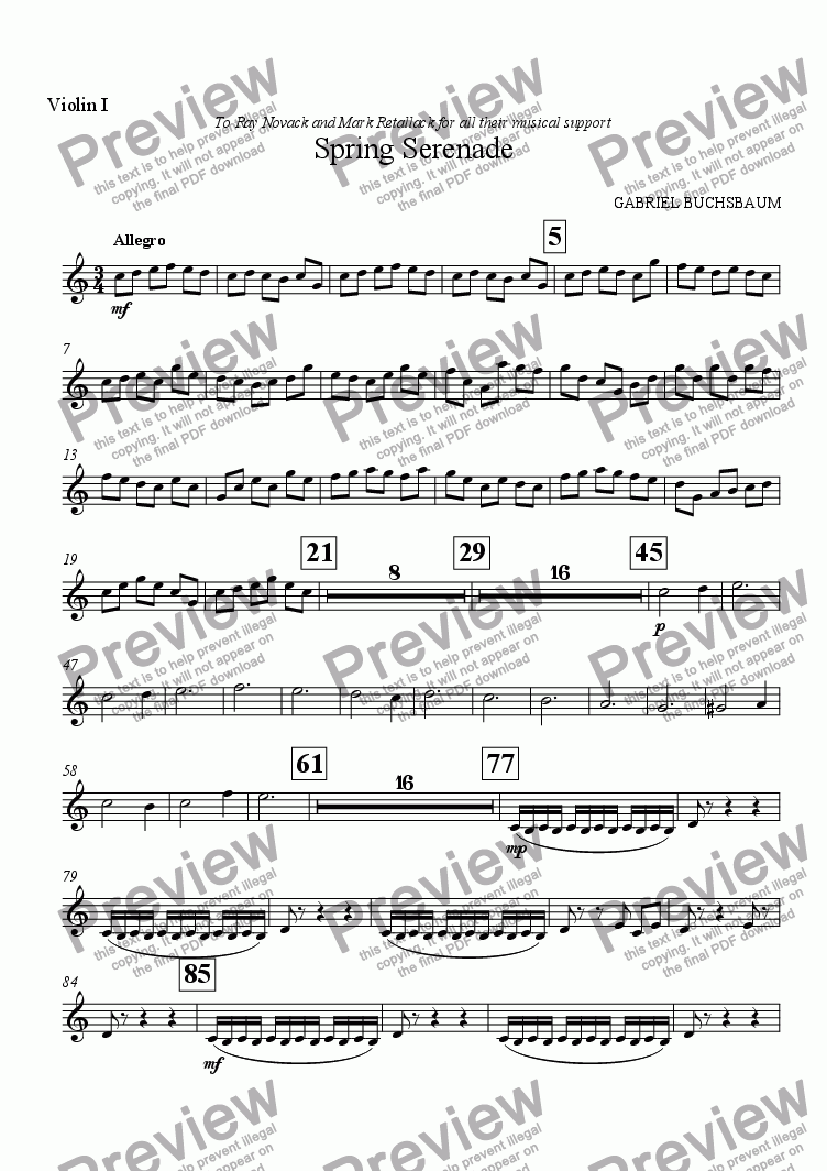 page one of the Violin I part from Spring Serenade