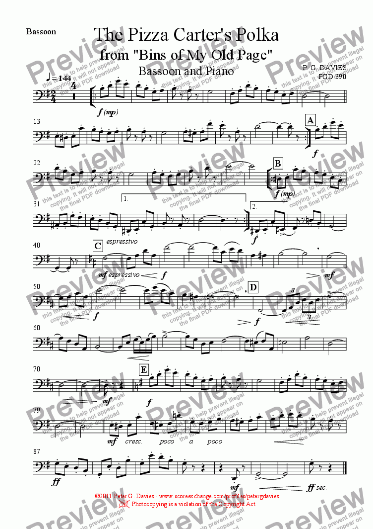 page one of the Bassoon part from The Pizza Carter's Polka for Bassoon and Piano