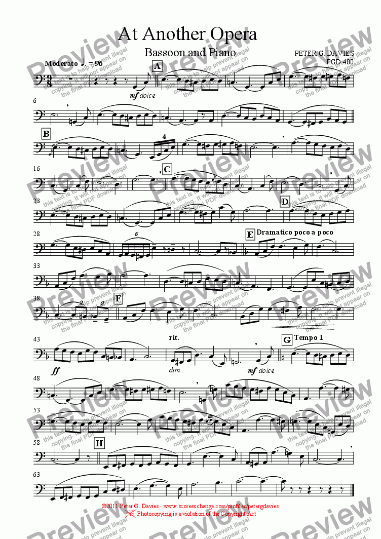 page one of the Bassoon part from At Another Opera for Bassoon and Piano