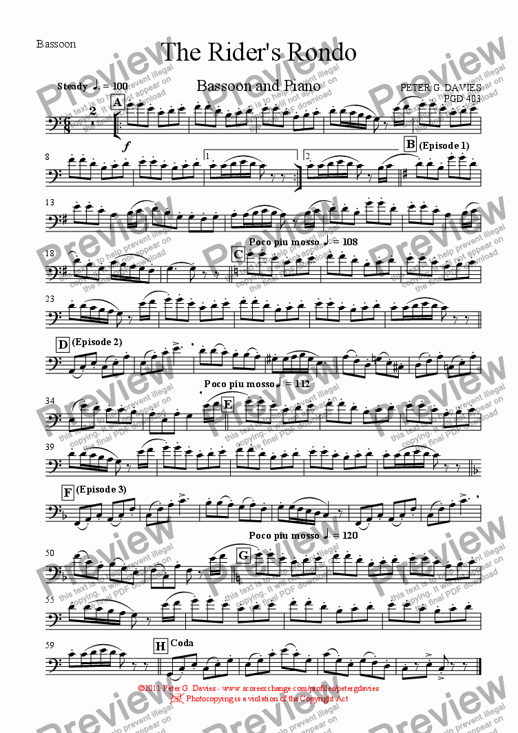 page one of the Bassoon part from The Rider's Rondo for Bassoon and Piano