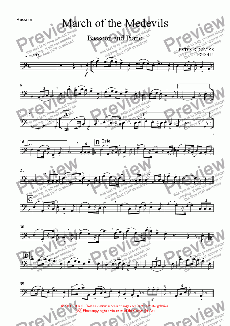 page one of the Bassoon part from March of the Medevils for Bassoon and Piano