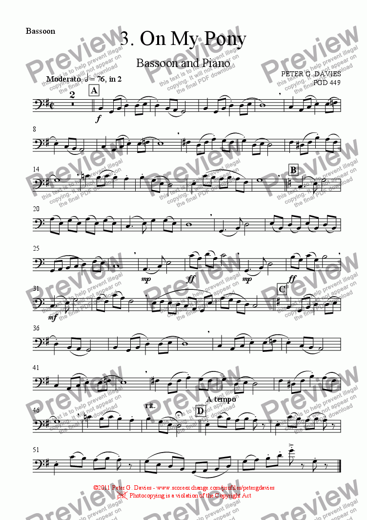 "page one of the Bassoon part from The ""On My"" Series 3. On My Pony for Bassoon and Piano"