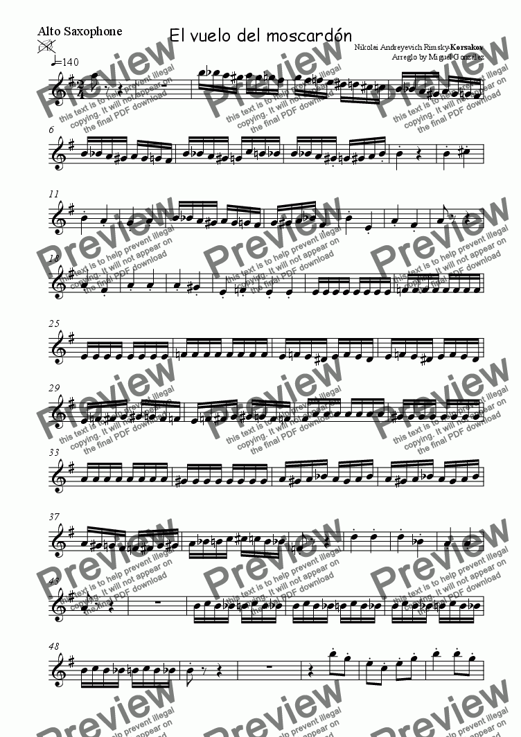 page one of the Alto Saxophone part from Flight of the Bumblebee  (Sax Quartet)