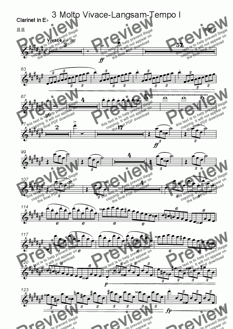 page one of the Clarinet in E^b part from Symphony no.6 in f-sharp minor:3 Molto Vivace-Langsam-Tempo I