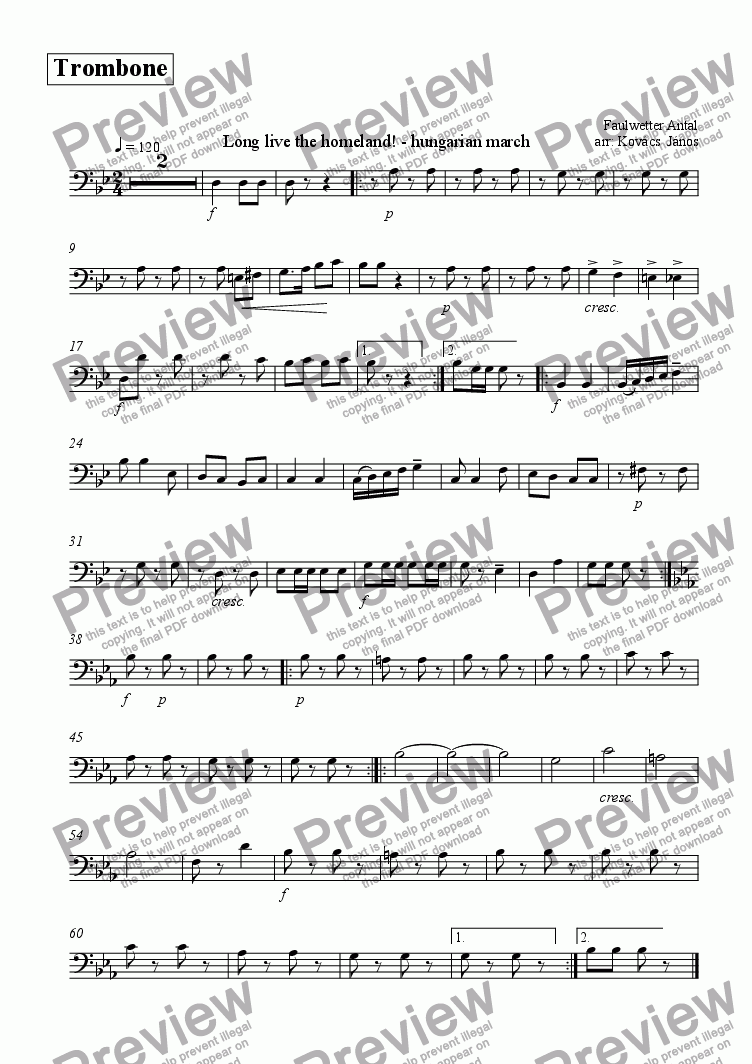 page one of the Trombone part from Éljen a haza! - induló