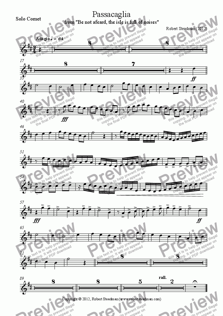 page one of the Solo Cornet part from Passacaglia