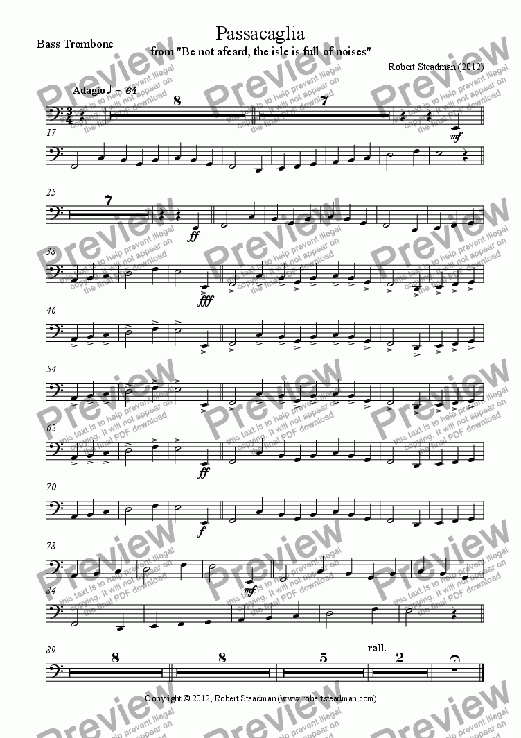 page one of the Bass Trombone part from Passacaglia