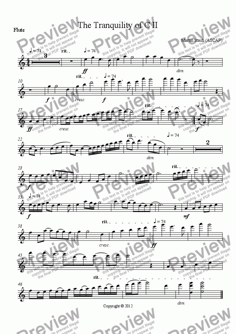page one of the Flute part from The Tranquility of C II