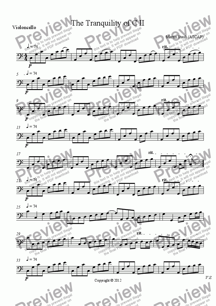 page one of the Violoncello part from The Tranquility of C II