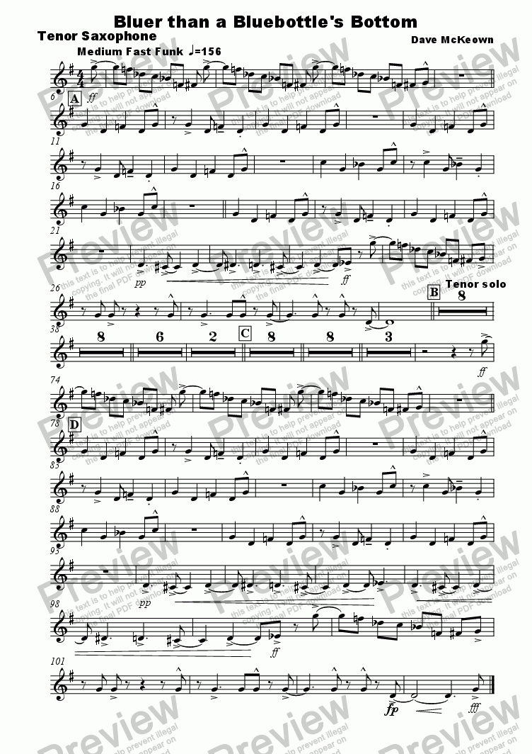 page one of the tenor sax part from Bluer Than A Bluebottle's Bottom