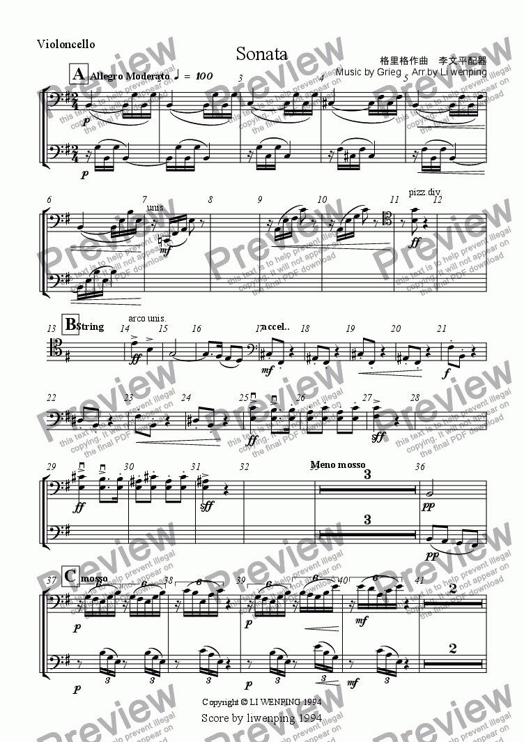 page one of the Violoncello part from Sonata,The first movement(Grieg piano orchestration)