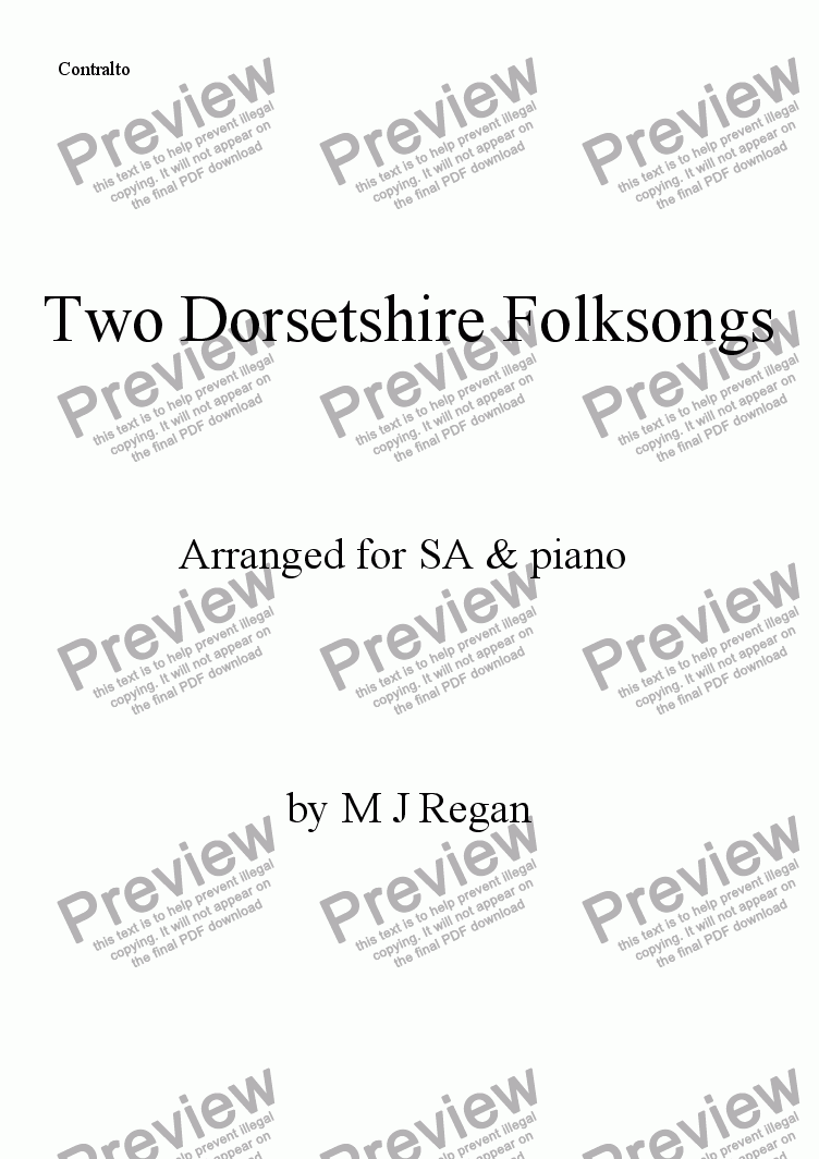 page one of the Contralto part from Two Dorsetshire Folksongs