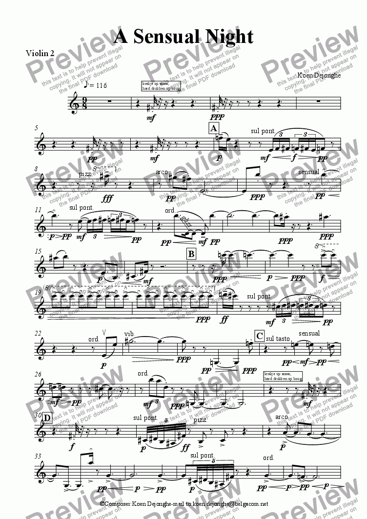 "page one of the Violin 2 part from ""A Sensual Night for Flute and String Quartet"""