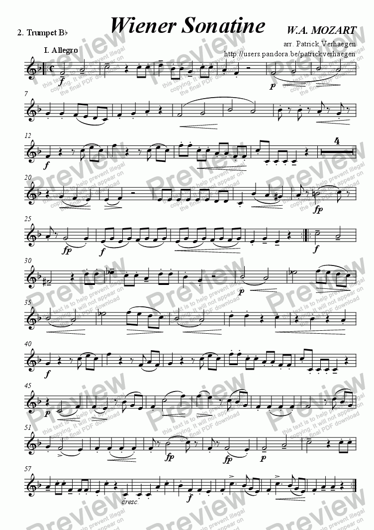 "page one of the 2. Trumpet Bb part from ""Wiener"" Sonatine (for brass quartet)"