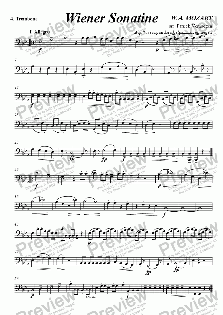 "page one of the 4. Trombone part from ""Wiener"" Sonatine (for brass quartet)"