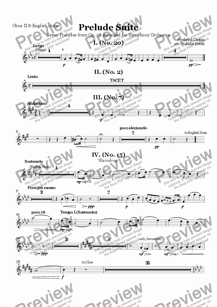 page one of the Oboe II & English Horn part from Prelude Suite