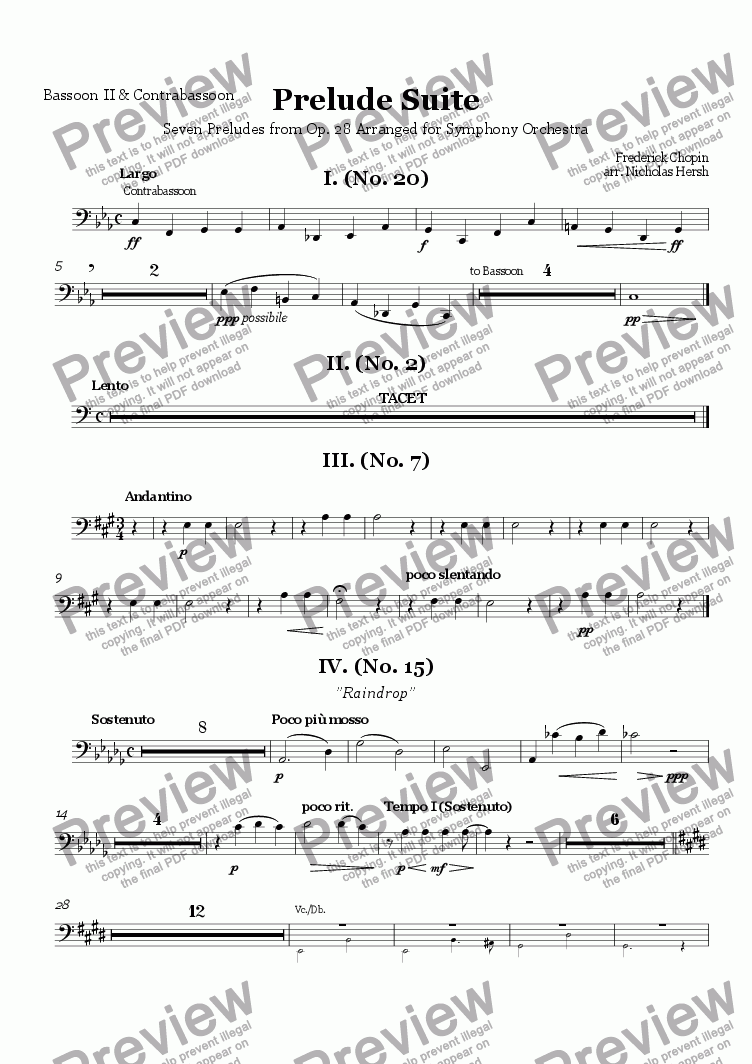 page one of the Bassoon II & Contrabassoon part from Prelude Suite